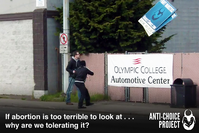 Video: Man Lashes Out on Anti-Choice Project Signs and Camera