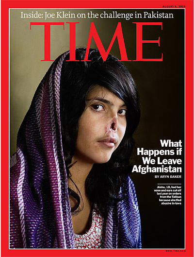 Brutalized Afghan woman on cover of Time Magazine, 2010