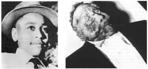 Left: Emmett Till, 14-yrs-old, 1954. Right: Emmett Till, after his brutal murder for flirting with a white girl in 1955.